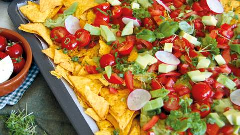 Assiette de nachos mexicains végans