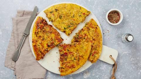 Omelette poivron-halloumi