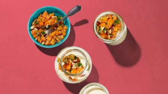Panna cotta au parmesan avec topping de carotte