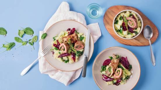 Roulades de boeuf avec purée de pommes de terre aux épinards et échalotes au vin rouge
