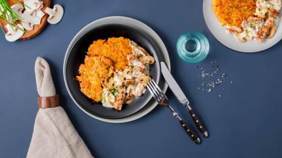 Émincé à la zurichoise avec rösti coloré cuit au four