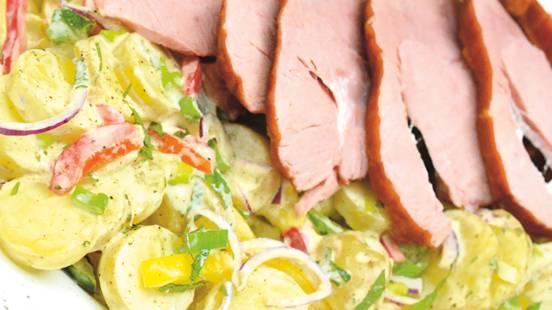 Jambon roulé et salade de pommes de terre