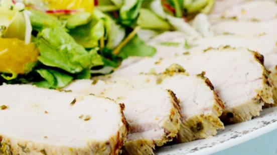 Carré de porc et salade