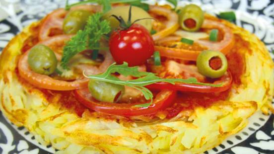 Rösti végans en sauce tomate au olives