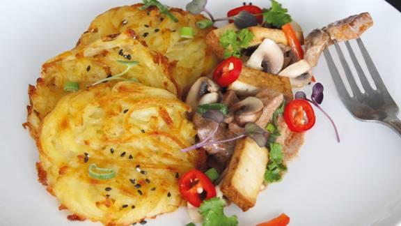 Émincé végan au tofu avec rösti