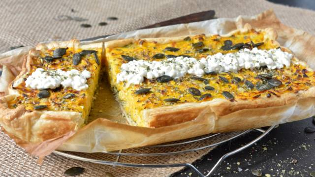 Quiche à la courge et au cottage cheese