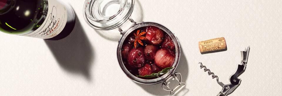 Échalotes au vin rouge