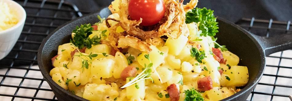 Cornettes au fromage et aux oignons frits