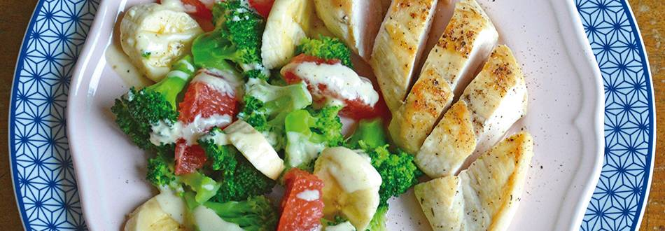 Poitrine de poulet, banane et brocoli