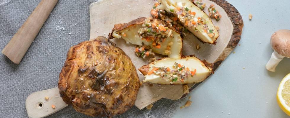 Céleri rôti au four et sa vinaigrette aux champignons